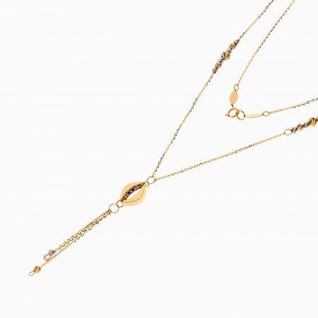 گردنبند طلا 18 عیار زنانه زنجیری مدل گوی و آویز لوزی کد NL0308