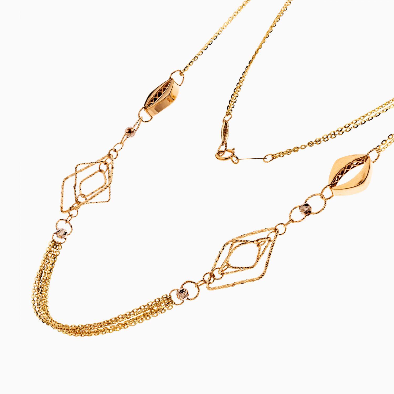گردنبند طلا 18 عیار زنانه زنجیری طرح لوزی کد NL0311