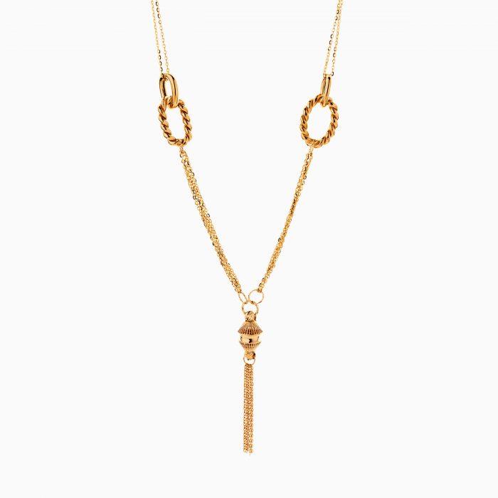 گردنبند طلا 18 عیار زنانه زنجیری مدل یورمن با آویز طرح دار کد NL0312