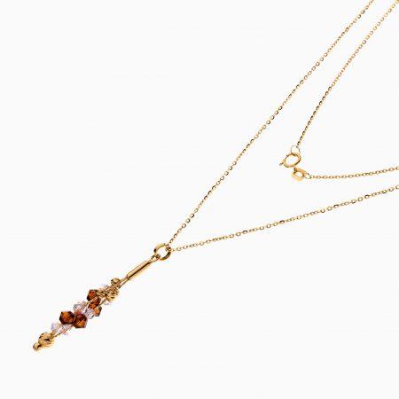 گردنبند طلا 18 عیار زنانه زنجیری با سنگ اتمی مدل آویز شیشه ای کد NL0314