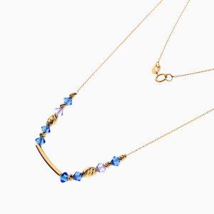گردنبند طلا 18 عیار زنانه زنجیری با سنگ اتمی مدل آویز پلاک دار کد NL0315