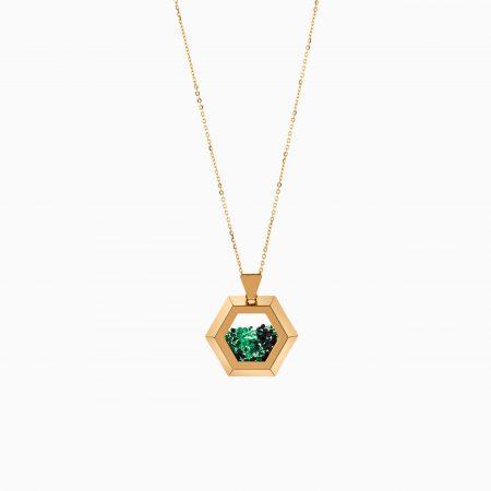 گردنبند طلا 18 عیار زنانه زنجیری با سنگ اتمی مدل شش ضلعی نگینی کد NL0316