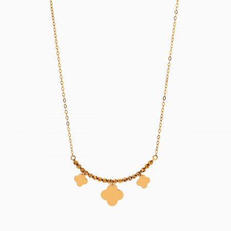 گردنبند طلا 18 عیار زنانه زنجیری مدل گوی و گل کد NL0317