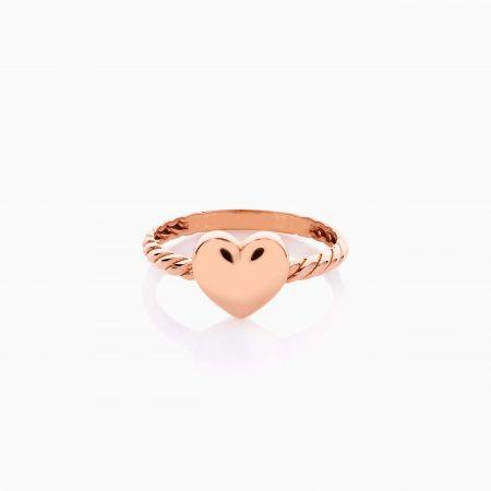 انگشتر طلا 18 عیار دخترانه فانتزی مدل قلب کد RG0495