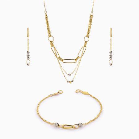 سرویس طلا 18 عیار زنانه اسپورت مدل گوی و زنجیر کد ST0206