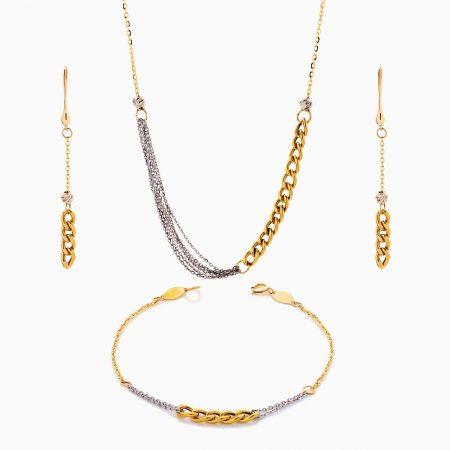 سرویس طلا 18 عیار زنانه زنجیری مدل کارتیر کد ST0207