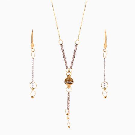 سرویس طلا 18 عیار زنانه زنجیری مدل حلقه و گوی کد ST0208