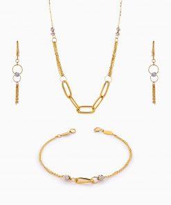 سرویس طلا 18 عیار زنانه اسپورت مدل گوی و زنجیر کد ST0211