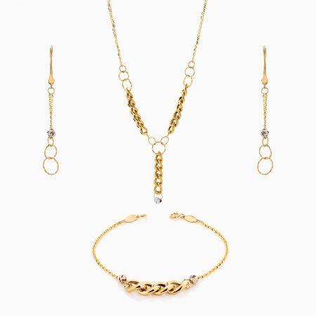 سرویس طلا 18 عیار زنانه زنجیری مدل کارتیر کد ST0214