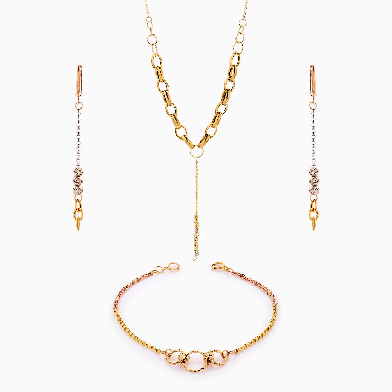 سرویس طلا 18 عیار زنانه اسپورت مدل گوی و زنجیر کد ST0215