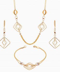 سرویس طلا 18 عیار زنانه زنجیری طرح لوزی کد ST0216