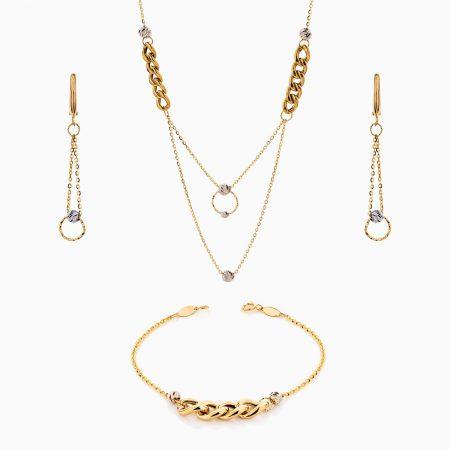 سرویس طلا 18 عیار زنانه زنجیری مدل کارتیر کد ST0218