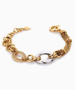 دستبند طلا 18 عیار زنانه زنجیری با نگین اتمی مدل کلاسیک طرح ترک کد BL0447