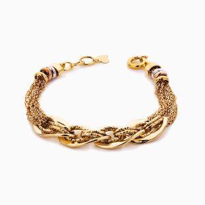 دستبند طلا 18 عیار زنانه زنجیری مدل کلاسیک طرح ترک کد BL0448