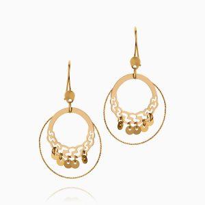 گوشواره طلا 18 عیار زنانه مدل حلقه ای پولکدار کد ER0324