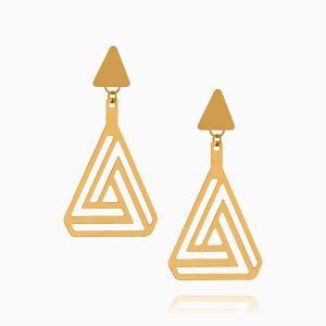 گوشواره طلا 18 عیار دخترانه اسپورت مدل مثلث طرح دار کد ER0327