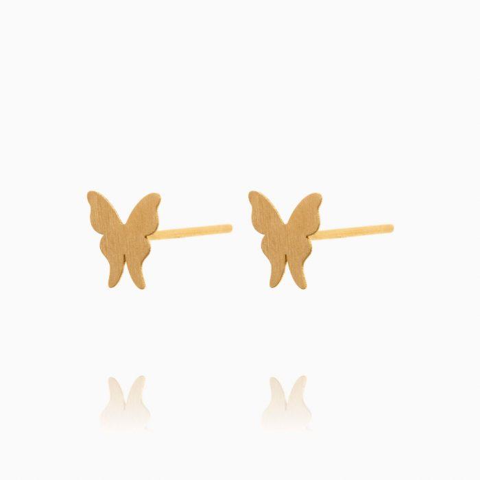 گوشواره طلا 18 عیار دخترانه فانتزی مدل پروانه کد ER0335
