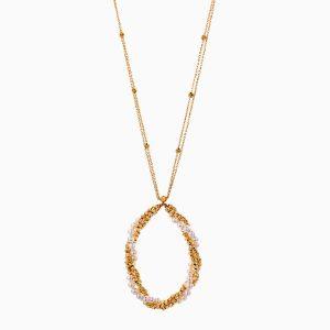 گردنبند طلا 18 عیار زنانه زنجیری با سنگ مروارید مدل آویز گرد گوی دار کد NL0320