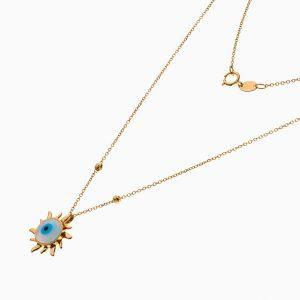 گردنبند طلا 18 عیار دخترانه فانتزی مدل چشم نظر خورشیدی کد NL0322