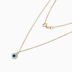 گردنبند طلا 18 عیار دخترانه فانتزی مدل چشم نظر کد NL0323