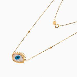 گردنبند طلا 18 عیار دخترانه فانتزی مدل چشم نظر موژه دار کد NL0324