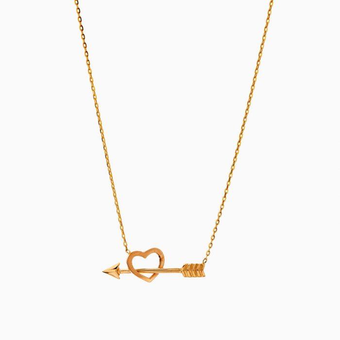 گردنبند طلا 18 عیار دخترانه فانتزی مدل تیر در قلب کد NL0332