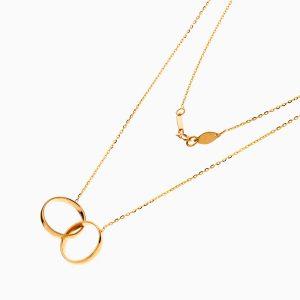 گردنبند طلا 18 عیار زنانه مدل آویز دو حلقه کد NL0333
