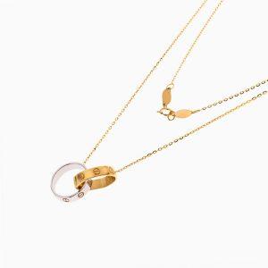 گردنبند طلا 18 عیار زنانه اسپورت مدل آویز دو حلقه طرح کارتیر کد NL0345