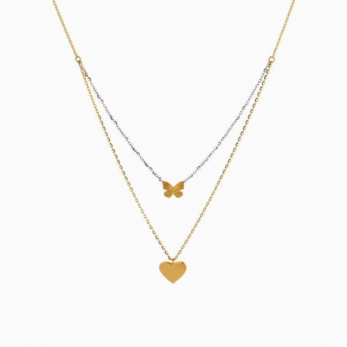گردنبند طلا 18 عیار زنانه فانتزی مدل آویز قلب و پروانه کد NL0351