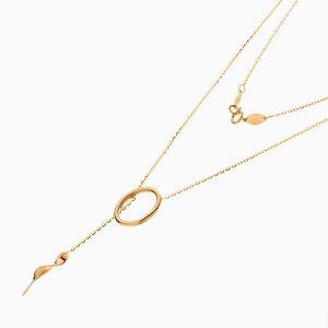 گردنبند طلا 18 عیار زنانه اسپورت مدل آویز حلقه و برگ کد NL0352