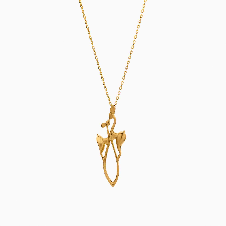 گردنبند طلا 18 عیار زنانه فانتزی مدل دو غزال کد NL0353
