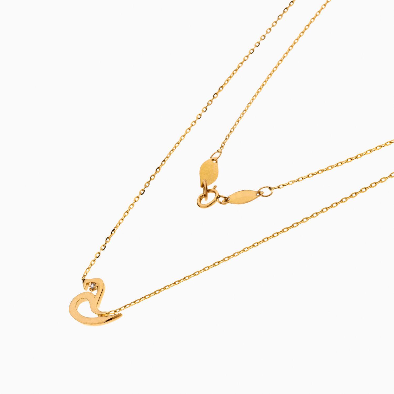 گردنبند طلا 18 عیار زنانه اسپورت با نگین اتمی مدل آویز حرف ح کد NL0355