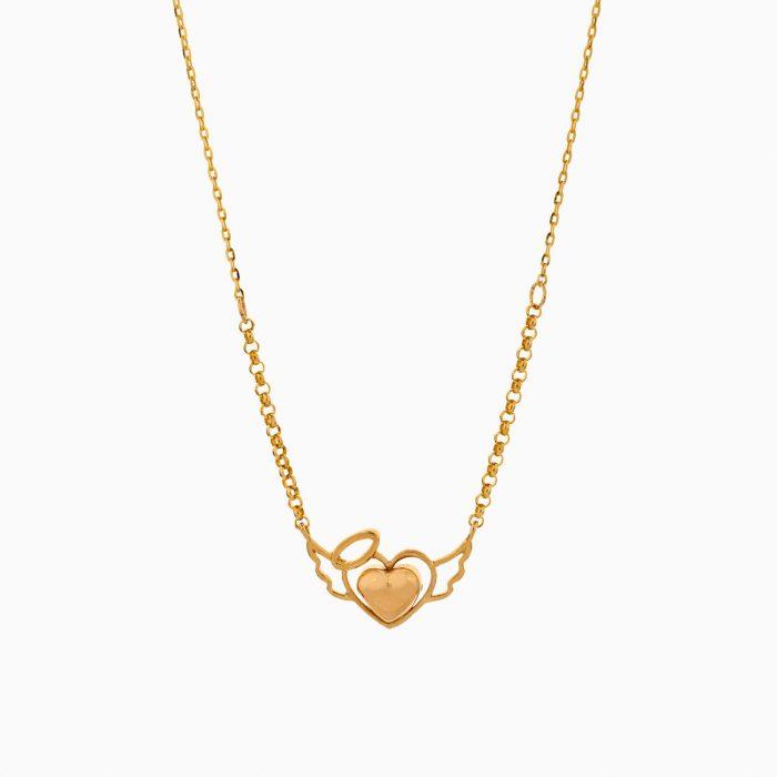 گردنبند طلا 18 عیار زنانه فانتزی رولو مدل بال و قلب کد NL0357