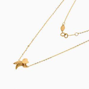 گردنبند طلا 18 عیار زنانه فانتزی مدل گنجشک و برگ کد NL0358