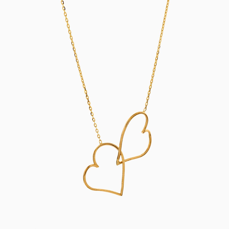 گردنبند طلا 18 عیار زنانه فانتزی مدل دو قلب کد NL0360