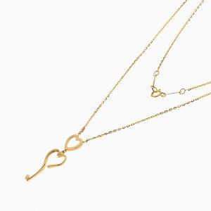 گردنبند طلا 18 عیار زنانه فانتزی مدل دو قلب کد NL0362