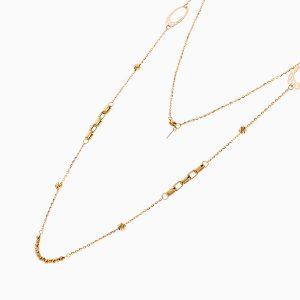 گردنبند طلا 18 عیار زنانه رولباسی رولو مدل گوی وزنجیر کد NL0365