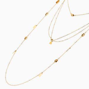 گردنبند طلا 18 عیار زنانه رولباسی رولو مدل آویز پولک دار کد NL0368