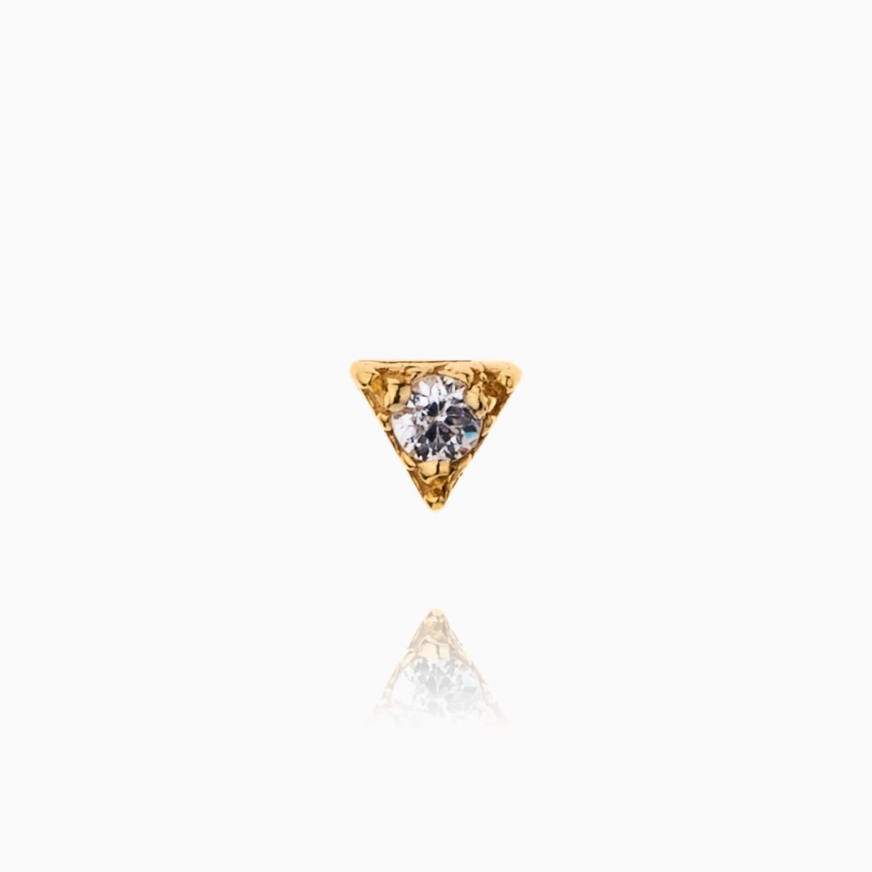 پیرسینگ طلا 18 عیار دخترانه نگین دار اتمی مدل مثلث کد PC0018