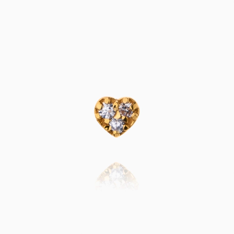 پیرسینگ طلا 18 عیار دخترانه نگین دار اتمی مدل قلب کد PC0019