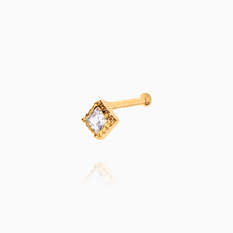 پیرسینگ طلا 18 عیار دخترانه نگین دار اتمی مدل لوزی کد PC0020