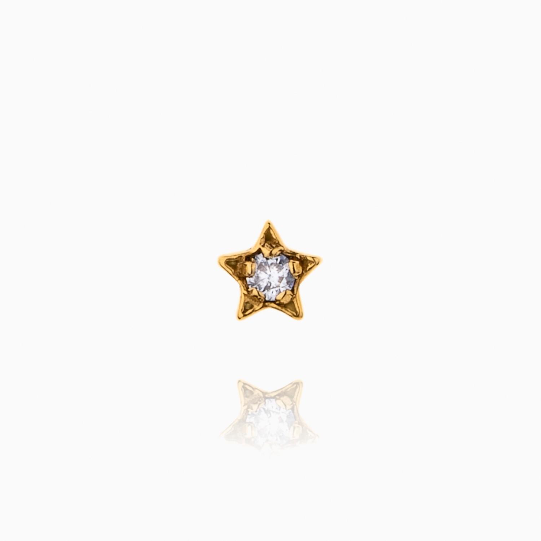 پیرسینگ طلا 18 عیار دخترانه نگین دار اتمی مدل ستاره کد PC0021