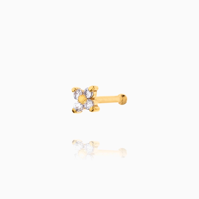 پیرسینگ طلا 18 عیار دخترانه نگین دار اتمی مدل ستاره کد PC0022