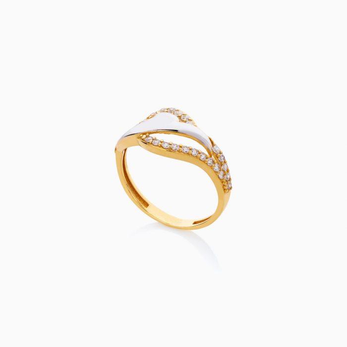 انگشتر طلا 18 عیار زنانه نگین دار اتمی مدل شیپوری کد RG0508