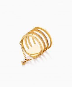 انگشتر طلا 18 عیار زنانه اسپورت مدل آویز نگین داراتمی کد RG0518