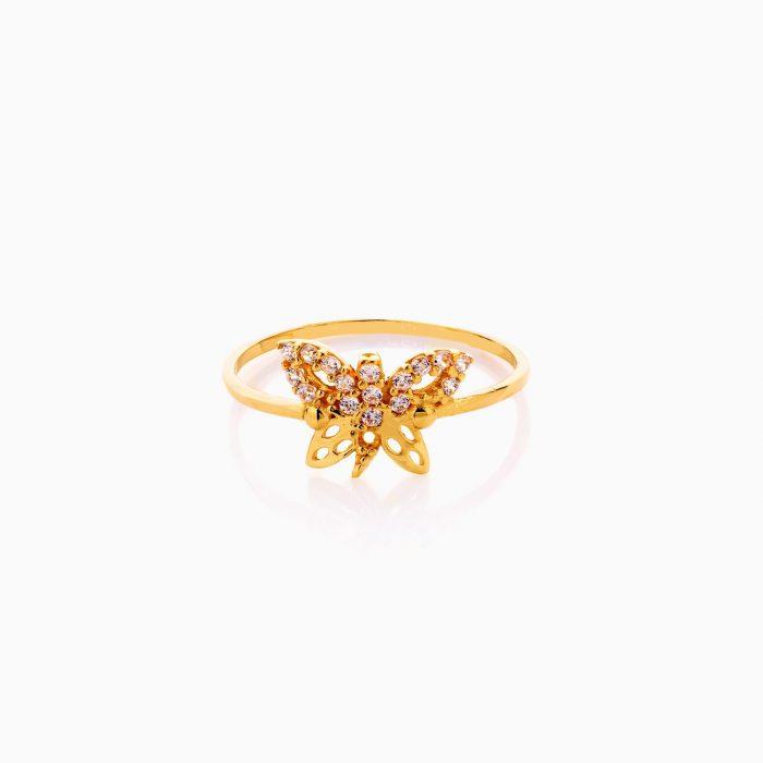انگشتر طلا 18 عیار زنانه نگین دار اتمی مدل پروانه کد RG0522