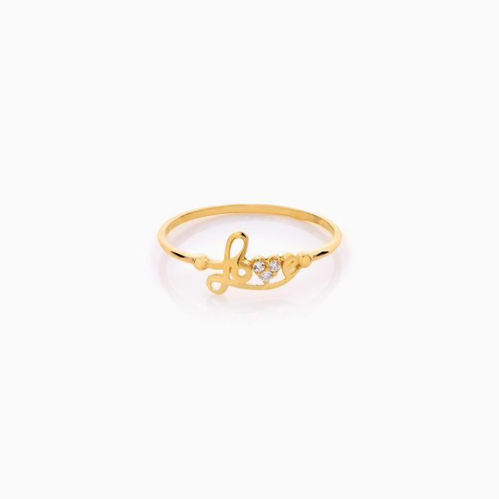 انگشتر طلا 18 عیار دخترانه نگین دار اتمی مدل love کد RG0525