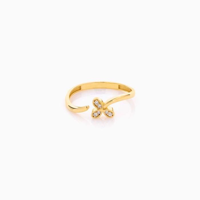 انگشتر طلا 18 عیار دخترانه نگین دار اتمی مدل گل سه پر کد RG0526