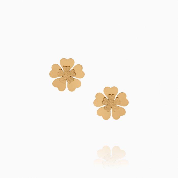 نیم ست طلا 18 عیار دخترانه مدل گل بنفشه کد ST0235