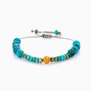 دستبند طلا 18 عیار دخترانه اسپرت با سنگ فیروزه مدل گوی فیوژن کد BL0453